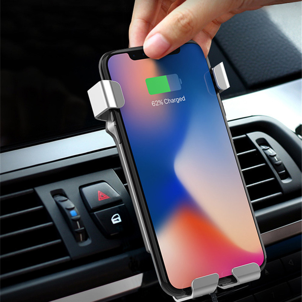 Mobile Car Mount Qi Wireless Charger For iPhone X 8 Plus Quick Charge Fast Wireless Charging Pad Car Holder Stand For Samsung S8 10w car vent qi wireless quick charger stand for iphone android phone