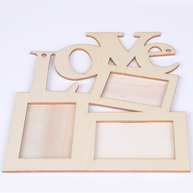 New Durable Hollow Love Wooden Family Photo Picture Frame Rahmen White Base Art Home Decor