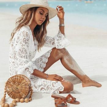 Mujer verano playa vestido señora chicas Bikini cubrir Floral encaje hueco Crochet trajes de baño cubierta-Ups traje de baño ropa de playa túnica