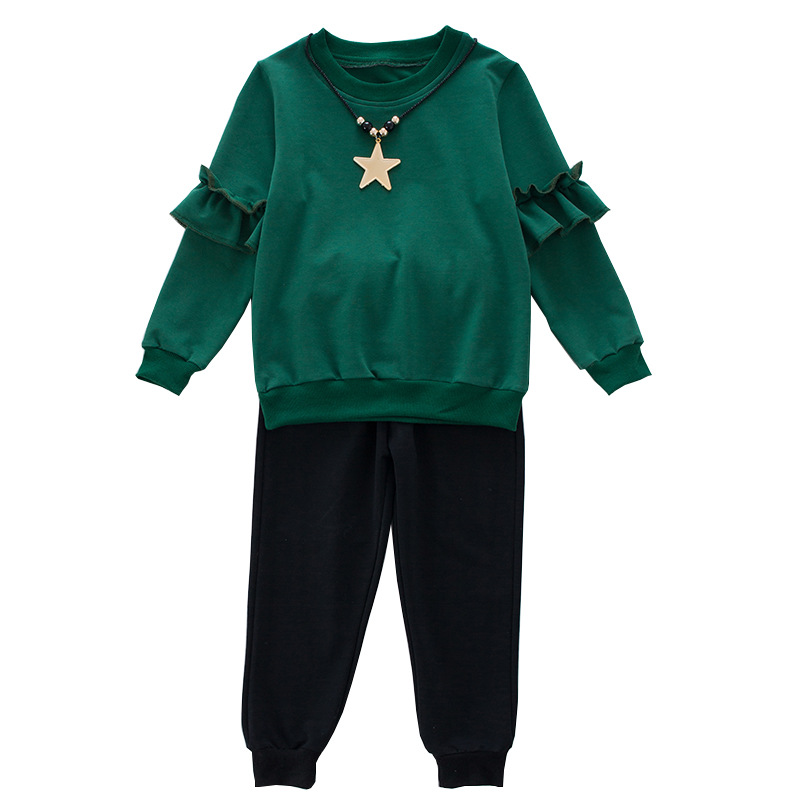2018 Spring Autumn Girls Cotton Sport Clothes Set Long Sleeve T-shirt +Pants  Kid School Cute