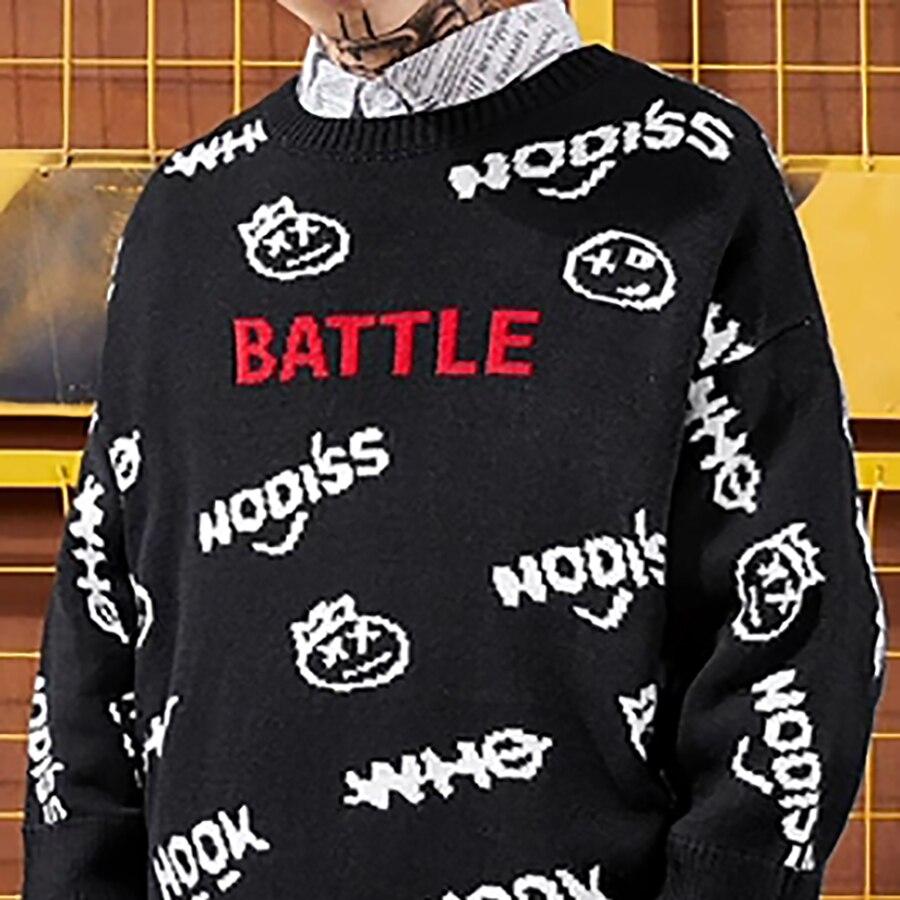 Уличная письмо Повседневное пуловеры свитер Для мужчин пуловер с вышивкой Для мужчин свитера Зимние; вязанные; шерстяные корейские Рождест... - 5