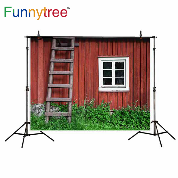 Funnytree background for photo studio wood house window ladder grass nature photography backdrop photobooth photocall prop ...