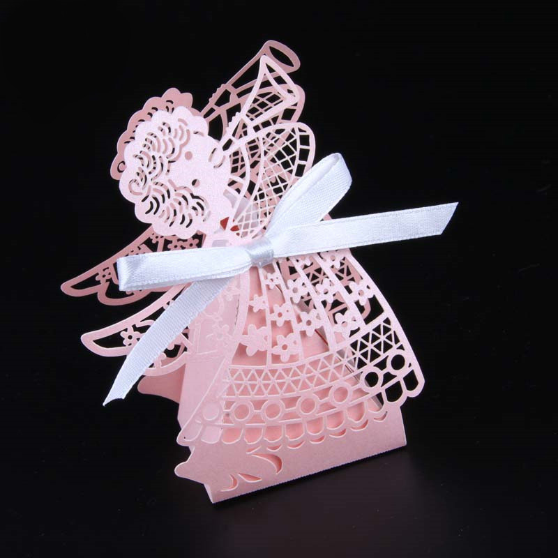 50 шт. свадебные коробки для конфет с рисунком из мультфильма, подарочные коробки для сладостей с лентой, вечерние украшения, товары для свадьбы, дня рождения, праздника - Цвет: Pink