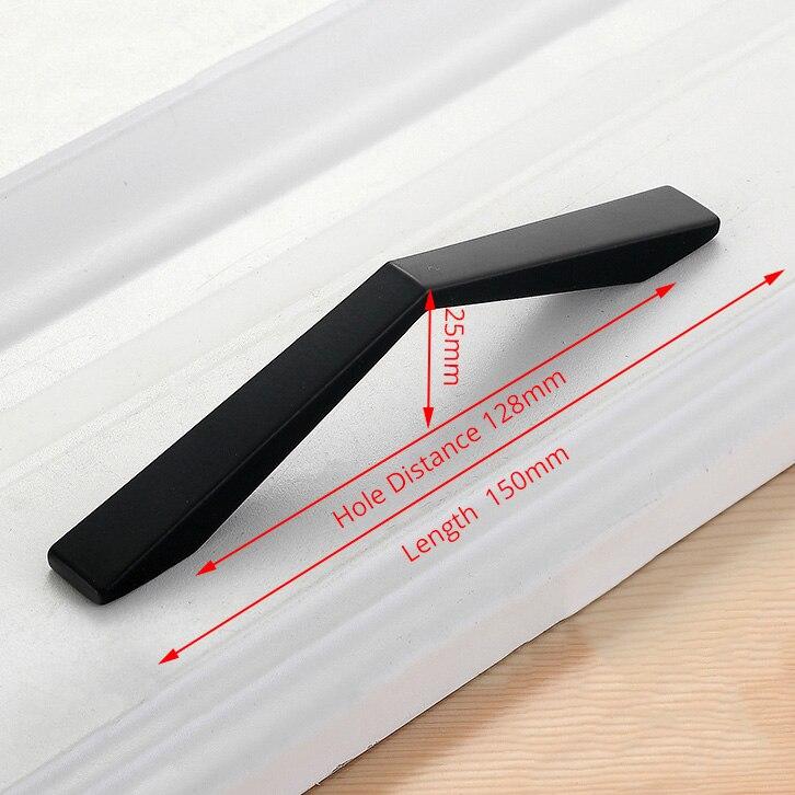 KAK американский стиль черный шкаф ручки цельный алюминиевый сплав кухонный шкаф ручки для выдвижных ящиков оборудование для обработки мебели - Цвет: Handle-2108C-128