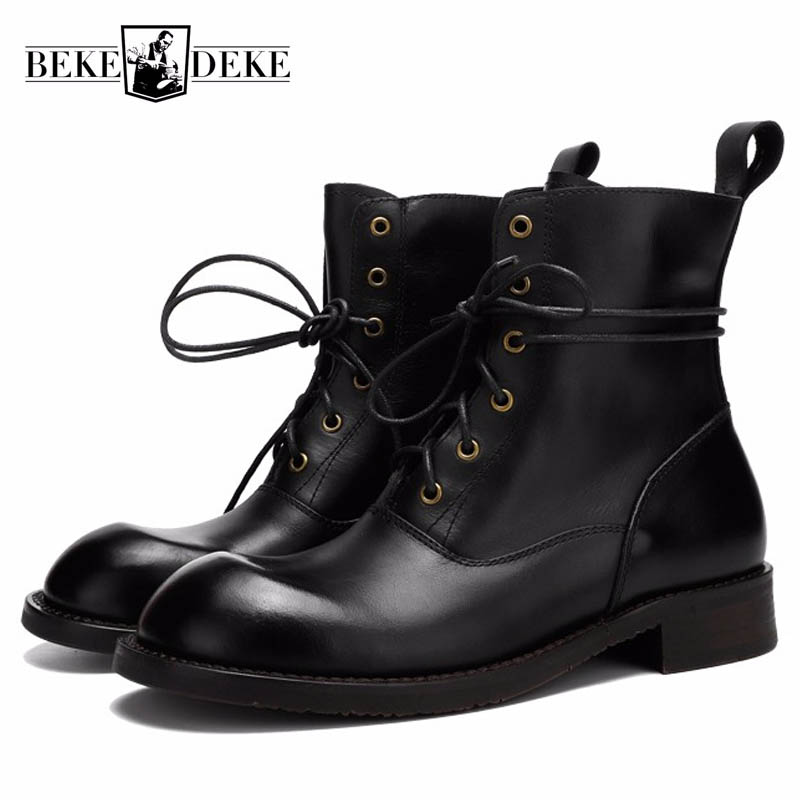 Winter Handmade Mens Cowhide Genuine Leather Work Safety Shoes Man Lace Up  Shoes High Top Vintage Motorcycle Ankle BootsWinter Handmade Mens Cowhide Genuine Leather Work Safety Shoes Man Lace Up  Shoes High Top Vintage Motorcycle Ankle Boots