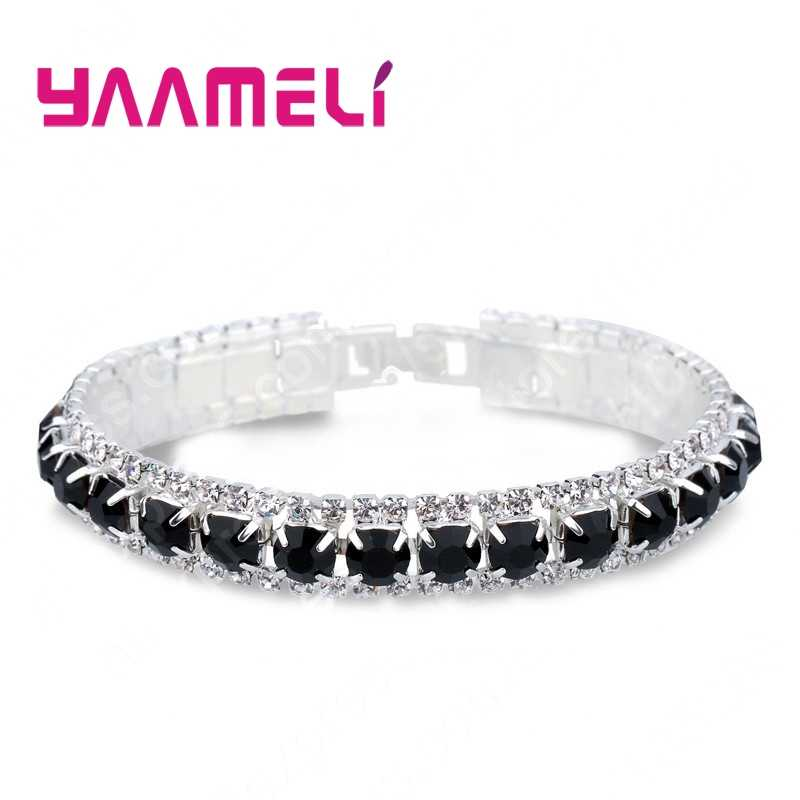 Top Dijual 925 Sterling Silver Gelang Penuh AAA Zirkon Kristal Austria Femme Wanita Link Rantai Perhiasan Gelang 14 Warna