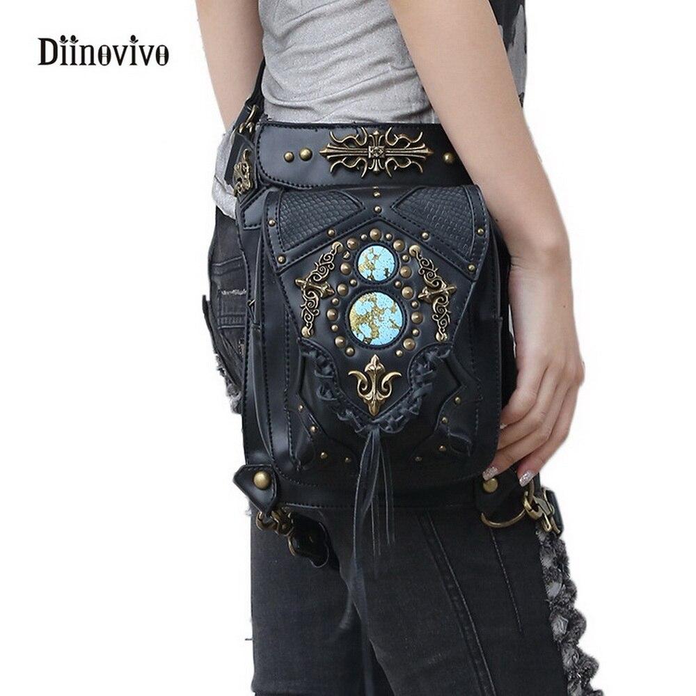 Diinovivo Street Стиль панк Для женщин Сумки через плечо стимпанк Поясные сумки Винтаж женские мотоботы ноги бедра кобура Сумка whdv0109