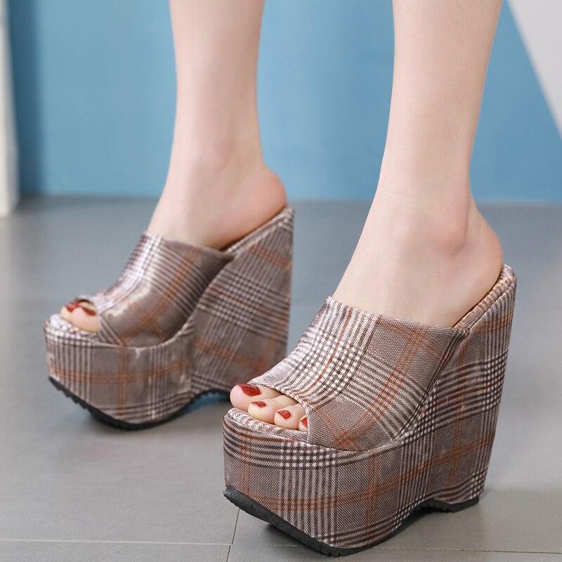 16cm Heels Women Slippers Gladiator Sandals Fashion Wedges Shoes For Women Platform Sandals Womens Heels Shoes Summer Slippers