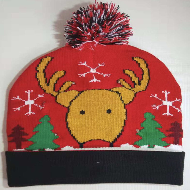 db9a2466de013 LED Christmas Hat Light Up X MAS Beanie Knit Cap For Party Holiday