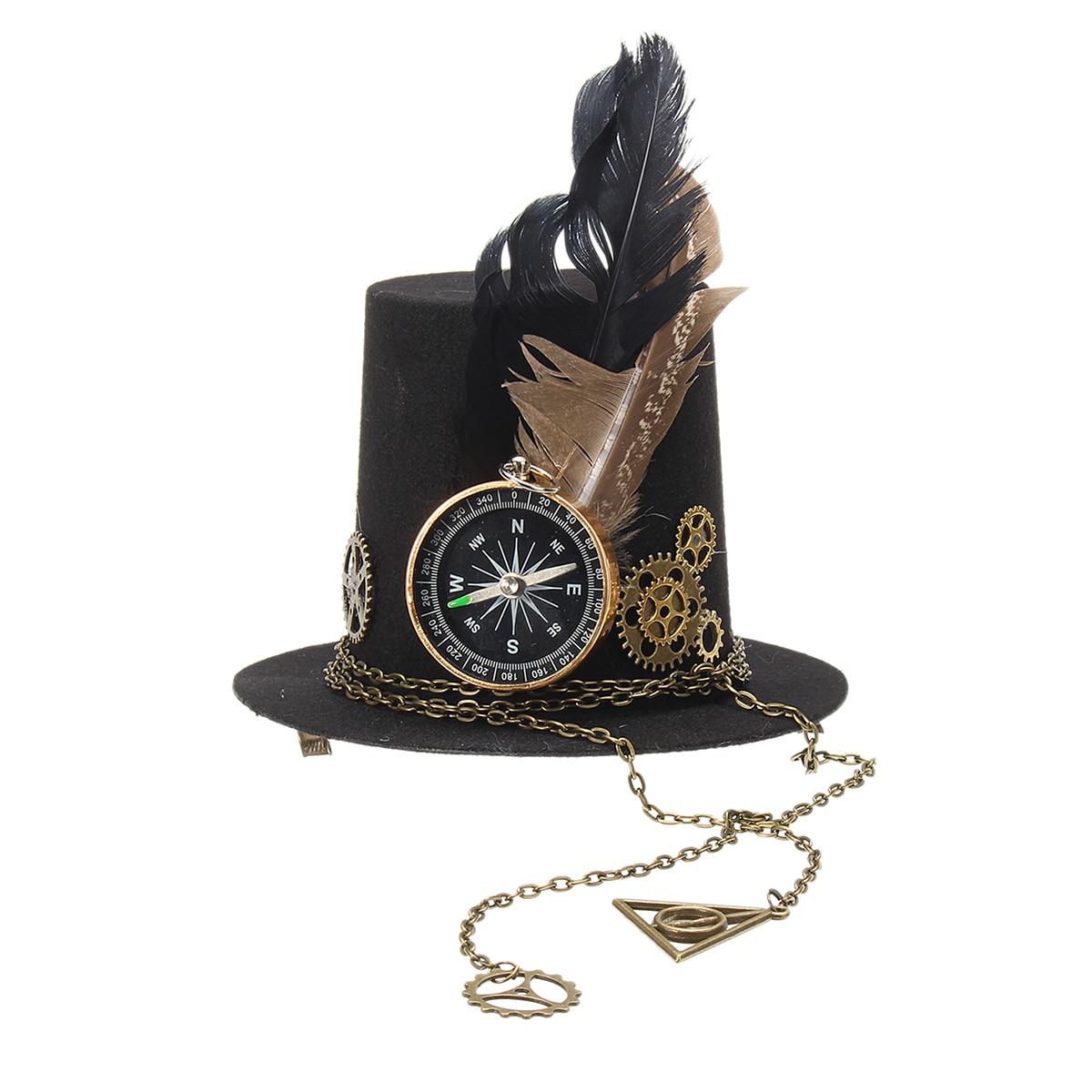 15659f4ea88ce Mens Fedora Hat Steampunk Fascinator Mini Top Hat Hair Clip Punk ...