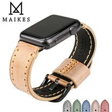 цена на MAIKES For Apple Watch Band 42mm 38mm Series 1 2 3 4  iwatch Apple Watch Strap 44mm 40mm Orange Genuine cow Leather Bracelets