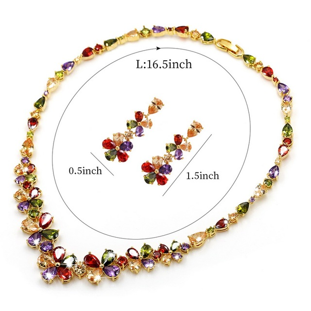 WEIMANJINGDIAN Sparkling Multi Colored Flower Cubic Zirconia CZ Crystal Necklace & Earring Bridal Jewelry Set