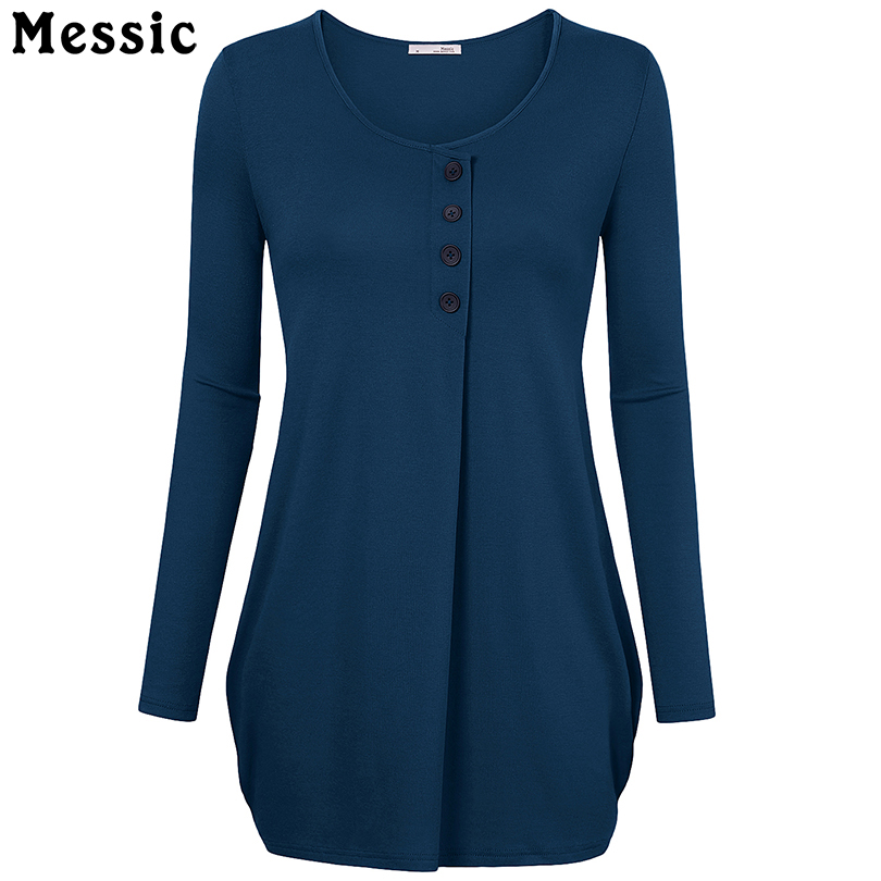 Messic Long Sleeve Knitted T Shirt Women Front Buttons