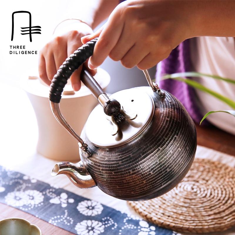 1.1l Серебряный чайник 999 серебро чайник ручной работы кастрюли чайник японский перфоратор зерна старое серебро чайник