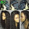 Brasileño Onda de Agua Llena Del Cordón Pelucas de Pelo Humano Para Las Mujeres Negras del Frente del cordón Pelucas de Pelo Humano Con El Pelo Del Bebé Sin Cola Llena Del Cordón peluca