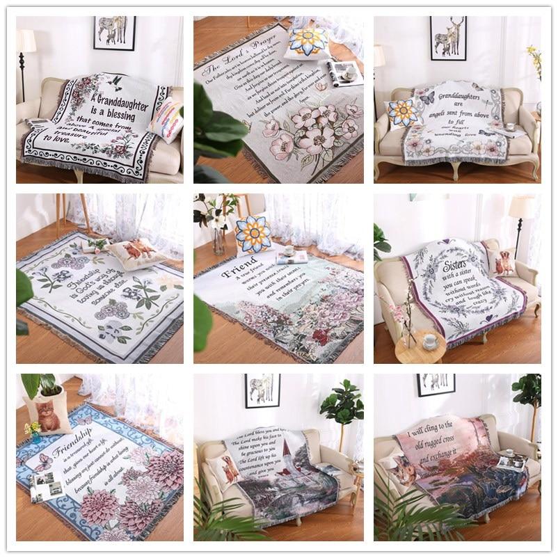 Pays américain multi-fonction ligne couverture canapé jeter serviette Christian tapis décoration couverture tapisserie tapis lettre tapis