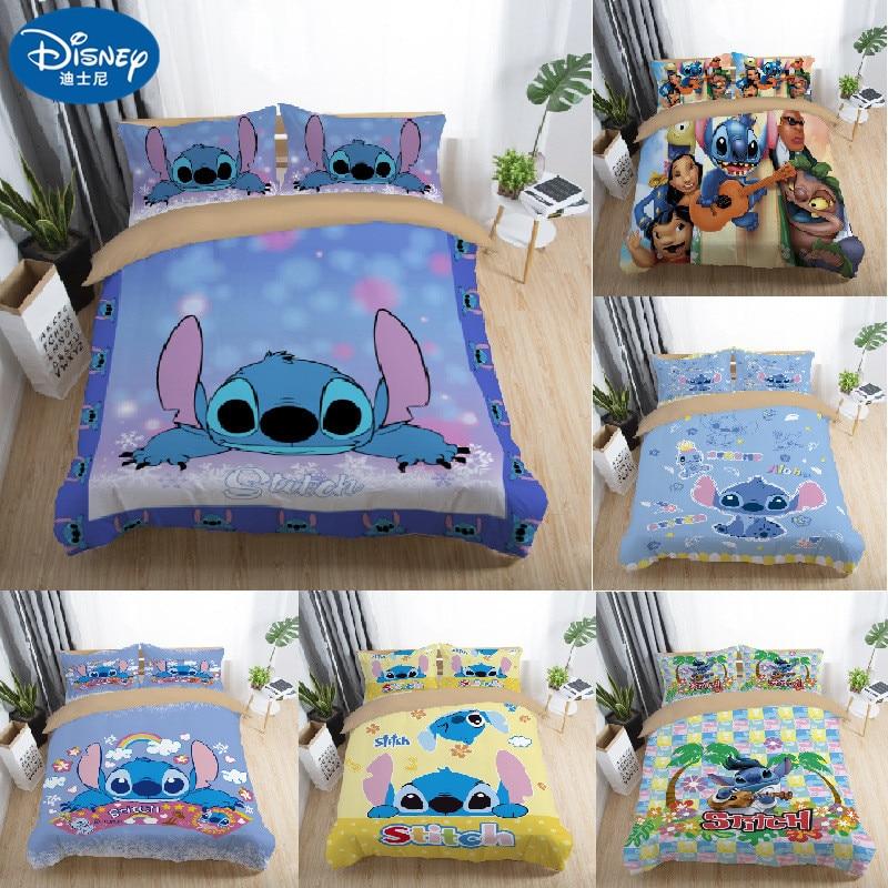 Disney Stitch  Bedding Sets Twin Full Queen King Cartoon Quilt Cover Pillowcase Sheet  Bed  Duvet Cover Set For Children Adult