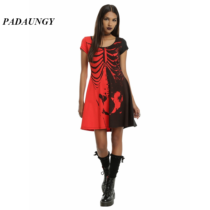 padaungy punk robe femme skeleton print women dress short. Black Bedroom Furniture Sets. Home Design Ideas