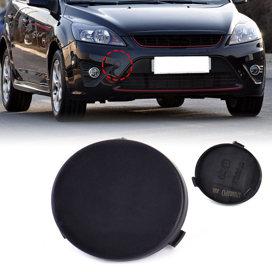beler New Black Front Bumper Tow Hook Cover Cap 8M51-17A989-AB 8M5117A989AB fit for <font><b>Ford</b></font> <font><b>Focus</b></font> 2009 <font><b>2010</b></font> 2011 Wholesale Price image