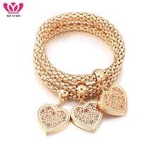 3Pcs Gold Hollow Flower Heart Charms Bracelets Inside Rhinestone Elastic Popcorn Chain Fashion Bracelet For Women Jewelry Gifts stylish rhinestone hollow out elastic bracelet for women