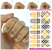 Fashionable plaid patterns decorative nail decal art nail stickers decoration simple transfer foil k603