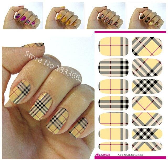 modische plaid muster dekorative nagel aufkleber kunst nagel aufkleber dekoration einfache transferfolie k603 - Kunstnagel Muster