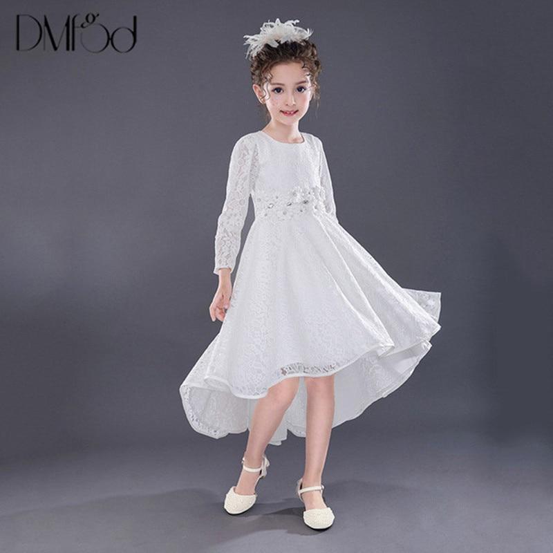 Long Sleeves Dresses For Little Kids Girl Birthday Party Evening Formal Dress Princess Irregular Lace Hollow Teenage Dress 9681 long criss cross open back formal party dress