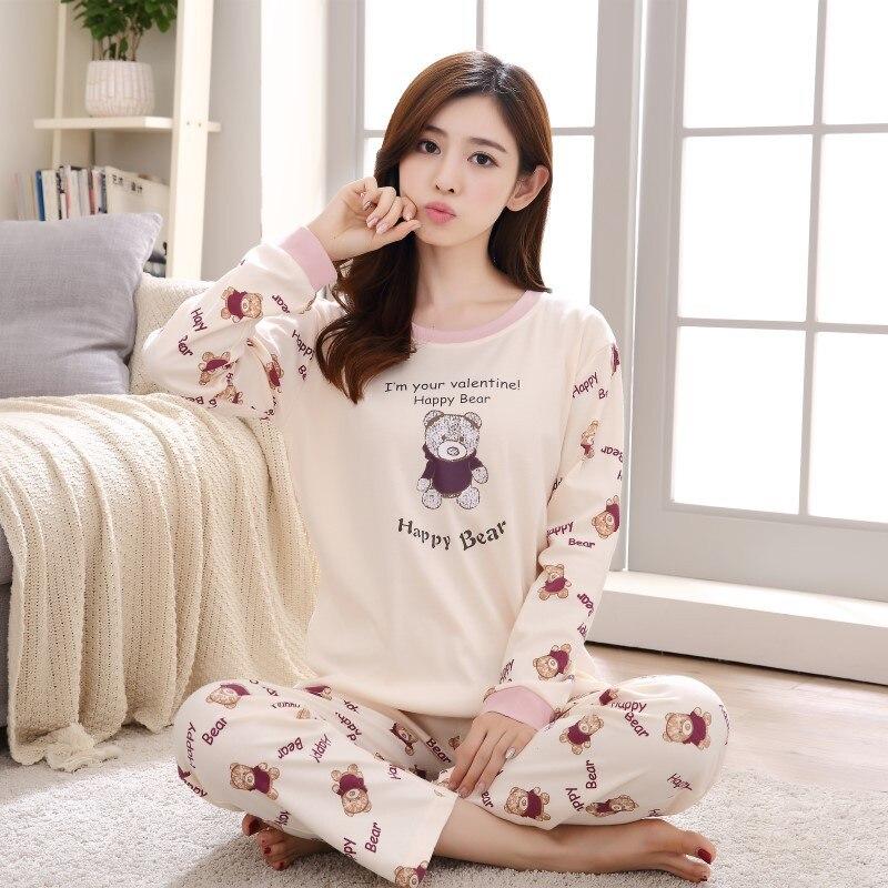 Cotton Cartoon Round Neck Top+Long Pant 2 Piece   Sets     pajamas     Set   Women cute sleepwear woman pijama Various Color M L XL XXL XXXL