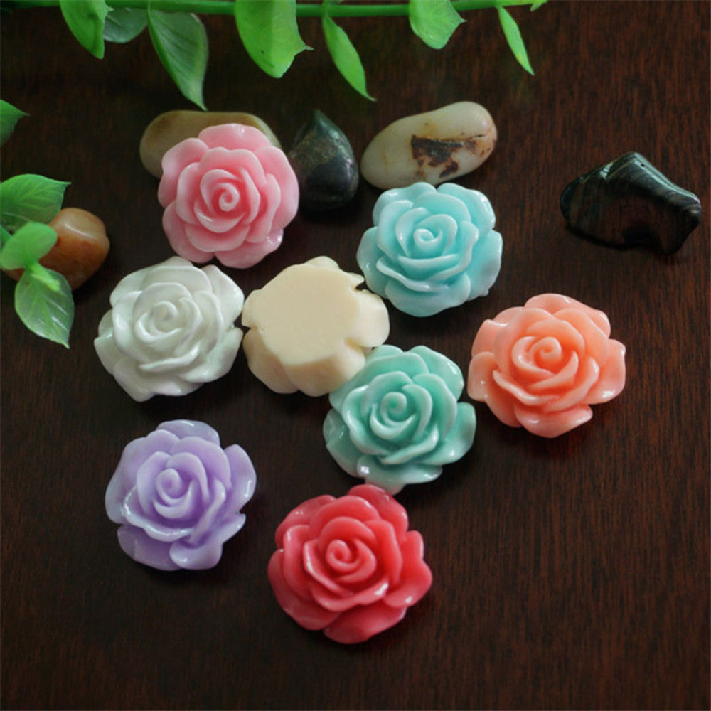 30pcs/pack 10mm Multicolor 3D Resin Rose Flower Flat Back Cabochon Scrapbook Resin Embellishment Jewelry Making Nail Decoration