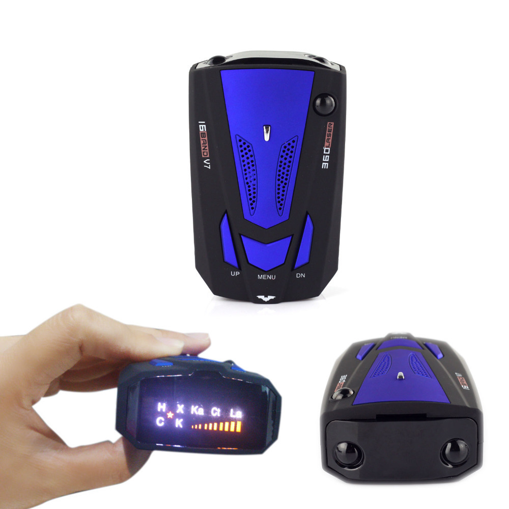 Russian free shipment NEW Car Radar Detector 16 Band Voice Alert V7 anti Laser radar detector LED Display