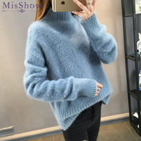 2018 Warm Mink Cashmere Soft Sweaters and Pullovers Women Autumn Winter Sweater Turtleneck Sueter Mujer Pull Femme pullover Tops