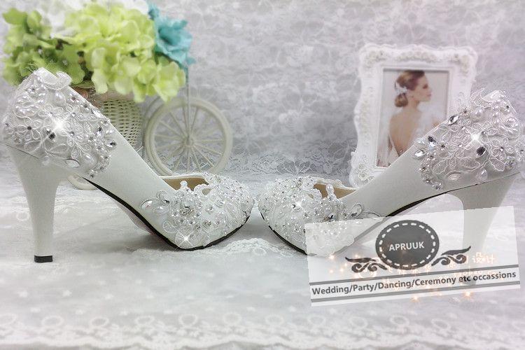 Cristal 5cm Perles Femme Parti Dentelle 11cm Chaussures Mariage Hs292 Dames Pompes Proms Heel Mariée Heel De À 8cm Fleur Heel Main La Princesse Femelle Robe ffrdqw