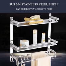 L40/50/60 см sus 304 Нержавеющая сталь двойной уровня Полки для ванной полированной стеллаж для хранения Полотенца стеллаж полка настенная Интимные аксессуары
