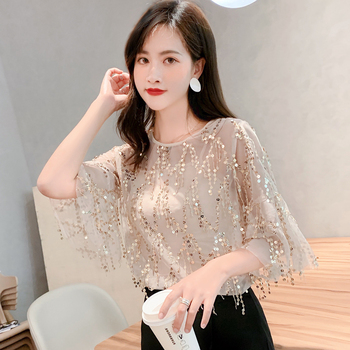 Blusas Womens Shirt 2019 Sexy Lace Sequin Women Summer Trumpet Sleeve Chiffon Blouse Plus Size Clothing