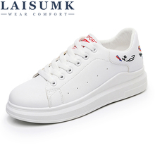 LAISUMK Womens Casual Shoes Summer 2019 Spring Women Leather Fashion Embroidered Breathable Hollow Lace-Up Sneakers