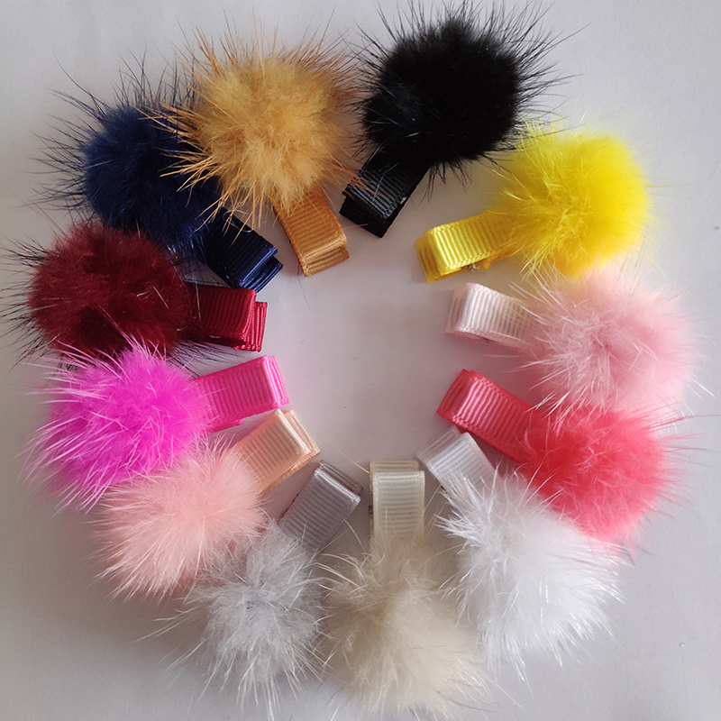 Baby Girls Hairpins Small Cute Soft Mink Fur Pompom Ball Gripper Pom Hair Pins Children Hair Clip Newborn Kids Hair Accessories