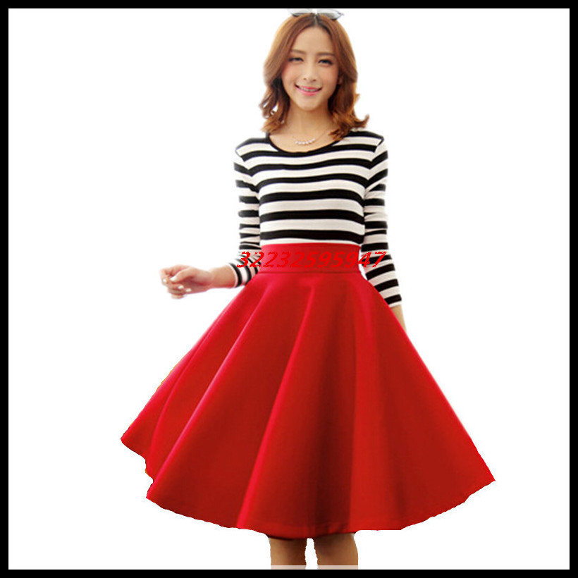 In The Autumn And Winter Grown Place Umbrella Skirt Retro Waisted Body Skirt New Europe And