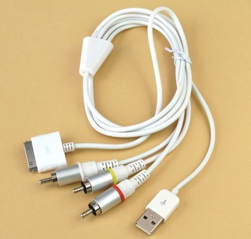 AV Cable for iPhone 3G 3GS 4G ipad iPod 2 in 1 AV Cable + USB Cable