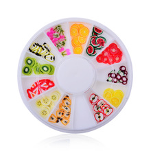 2016 New 3D Polymer Clay Fruit Slices Wheel Nail Art Decoration Diy Design Wheel Nail Art Decorations Rhinestones nail jewelry