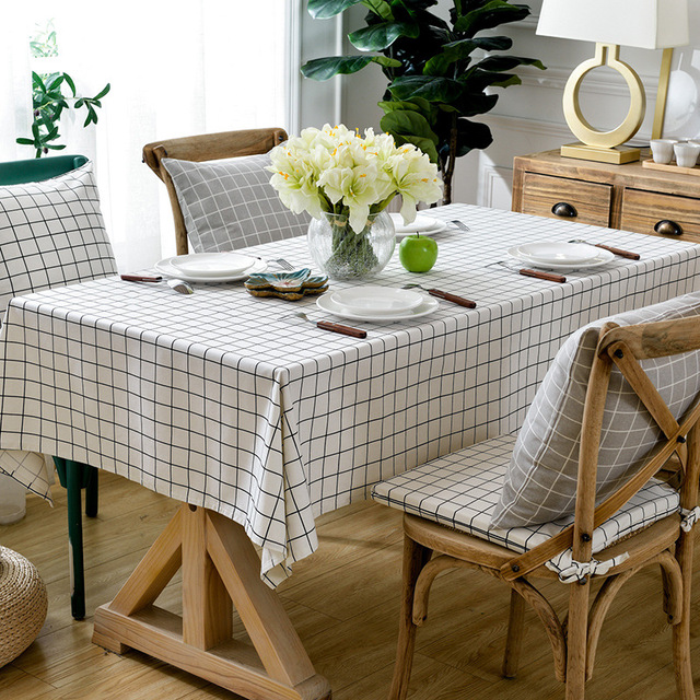 Kitchen Table Cloth Cotton Plaid Tablecloth Thick Rectangular Clothes Simple Chair Kit Cusion White