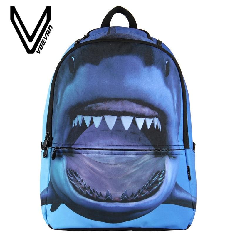 VEEVANV Women Fashion Printed Kids School Backpack For Girls Boys Cool  Children Bookbag 3D Shark Student Laptop Backpack Bag-in Backpacks from  Luggage ...