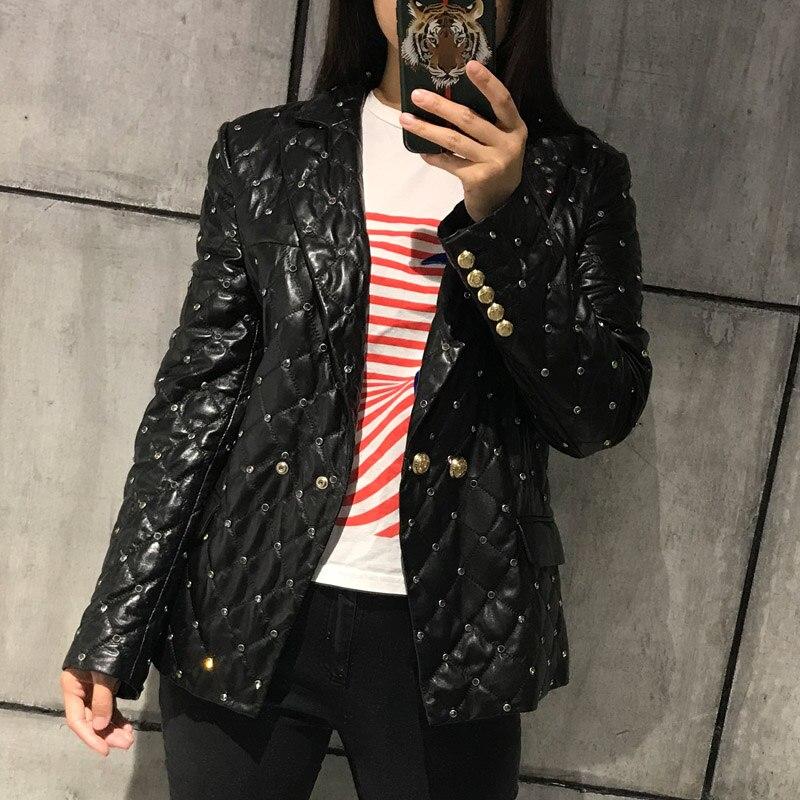ladies real leather blazer women genuine leather jacket sheepskin coat