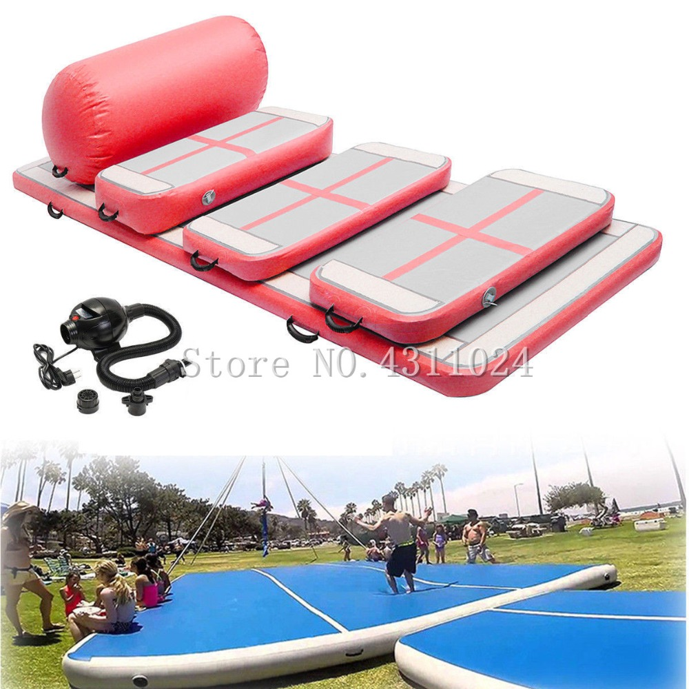A Set (Include 6 Pieces)Air Floor Track Inflatable Air Track Tumbling Mat Gymnastics Training Pad Gym Mat With Air PumpA Set (Include 6 Pieces)Air Floor Track Inflatable Air Track Tumbling Mat Gymnastics Training Pad Gym Mat With Air Pump