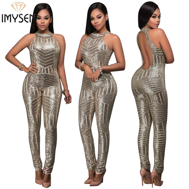 c9ad690229a IMYSEN 2018 Summer New Fashion Sexy Jumpsuit Women Romper Halter Backless  Sequined JumpsuitS Club Outfit Skinny