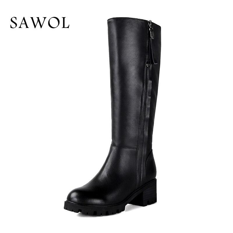 купить Women Winter Shoes Women Genuine Leather Natural Wool Boots Brand Women Shoes 42 43 Knee High Boots With Platform Sawol недорого