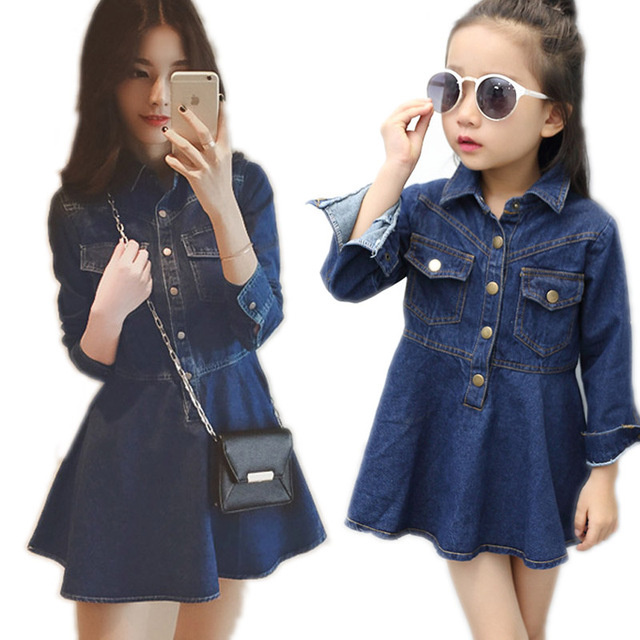 2018 New Mother Daughter Dresses And Clothes Mommy Me Dress Denim Long Sleeve