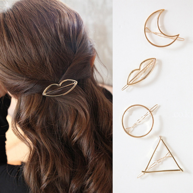 1pcs Alloy Metal Hairpin Star Moon Round Infinit Triangle Lip Hair Clip Frog Clips