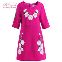 Pettigirl女の子のドレス夏ホットピンク女の赤ちゃん服花子供服刺繍GD90305-663F