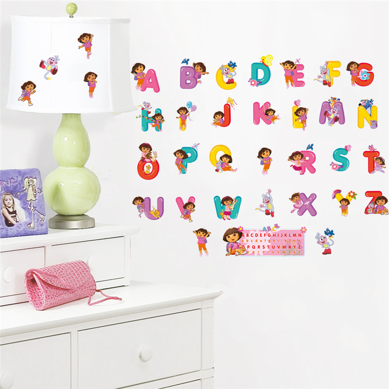 Us 2 38 5 Off Cartoon Dora Bedroom Decor Alphabet Wall Stickers For Kids Rooms Nursery English Letter Decals Poster Mural In From