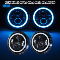 2x 7 Inch Round 40W LED Headlights With Halo Ring Blue Turn Signal For Jeep Wrangler